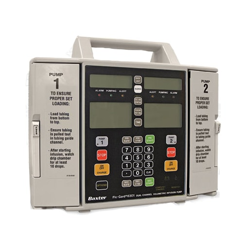 The Baxter 6301 is a dual-channel volumetric infusion pump available refurbished from DRE.  Once volume and time are selected, flow rate calculation is automatic in this model.  The incremental flow…